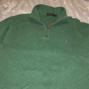 Green POLO  Ralph Lauren 1/4 zip. size Large